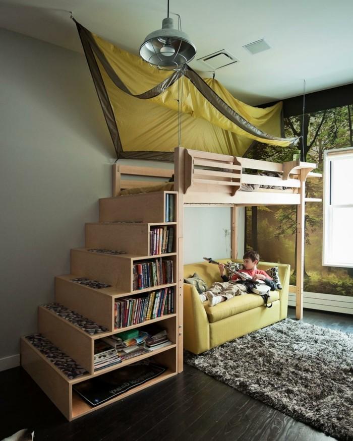 kinderzimmer hochbett jungenzimmer gestalten stauraum teppich