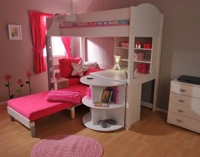 kinderzimmer hochbett rosa gardinen weiße möbel