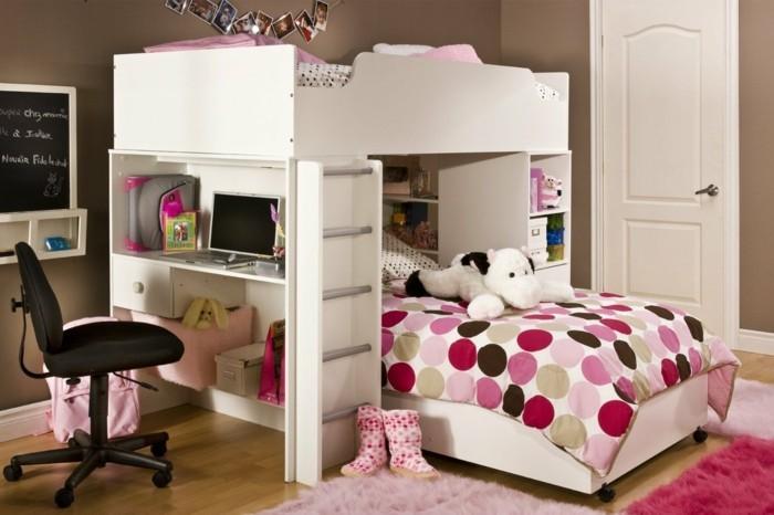 kinderzimmer hochbett schreibtisch rosa teppiche mädchenzimmer ideen