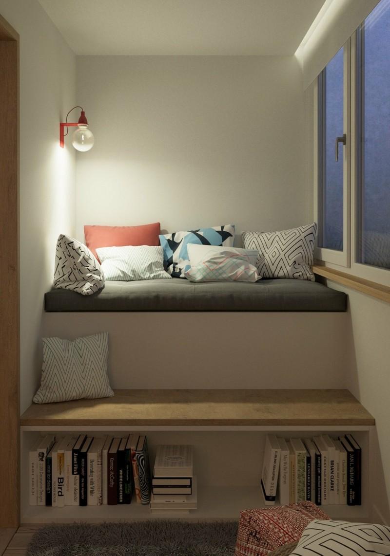 kleine Wohnung einrichten Ideen Bank Bücherregal