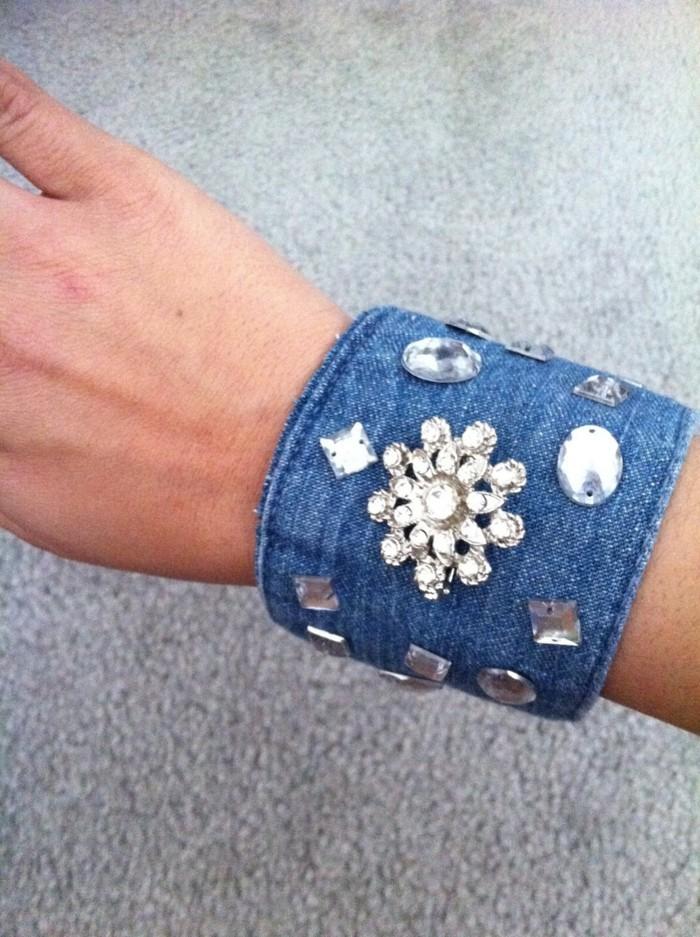 kreativ basteln denim armband basteln dekorieren