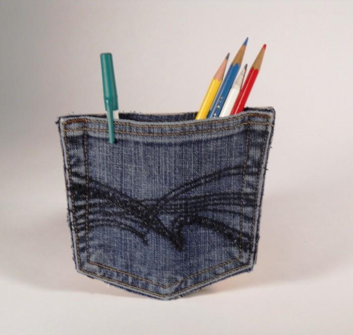 kreativ basteln denim tasche bleistifte sammeln