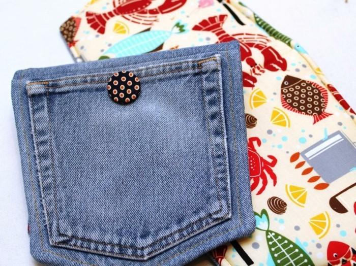 kreativ basteln topflappen knopf alte jeans