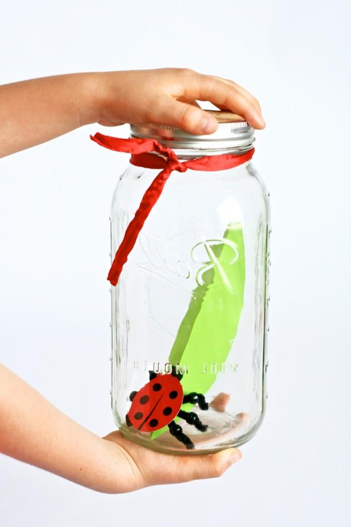kreative bastelideen kinder marienkäfer einmachglas