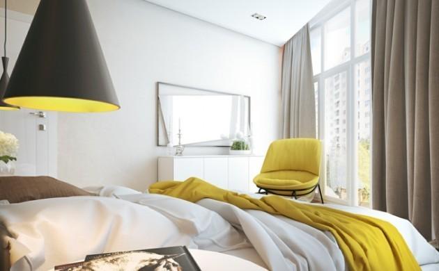 lampe-schlafzimmer-gelbe-akzente-weiße-wände-wandspiegel