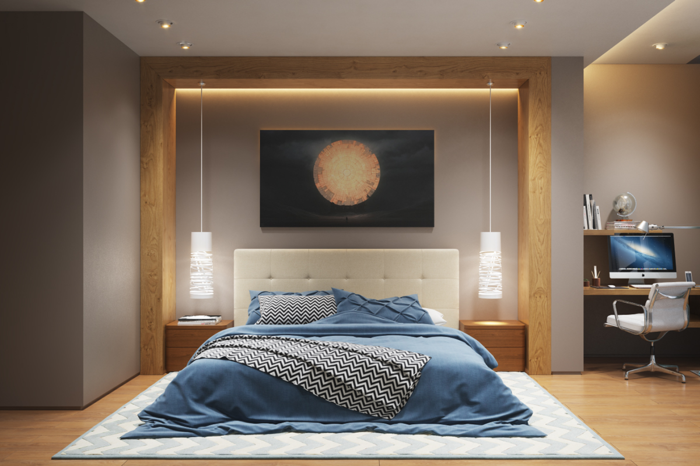 lampe schlafzimmer hängelampen teppich hellgraue wände