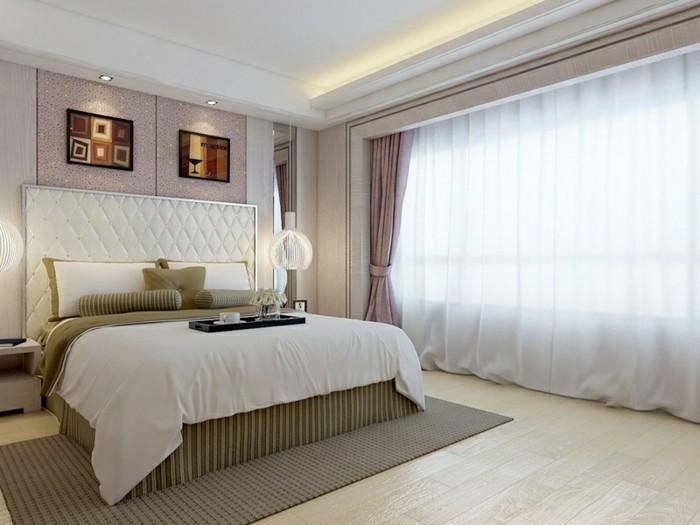 lampe schlafzimmer hängeleuchte teppich schickes bettkopfteil