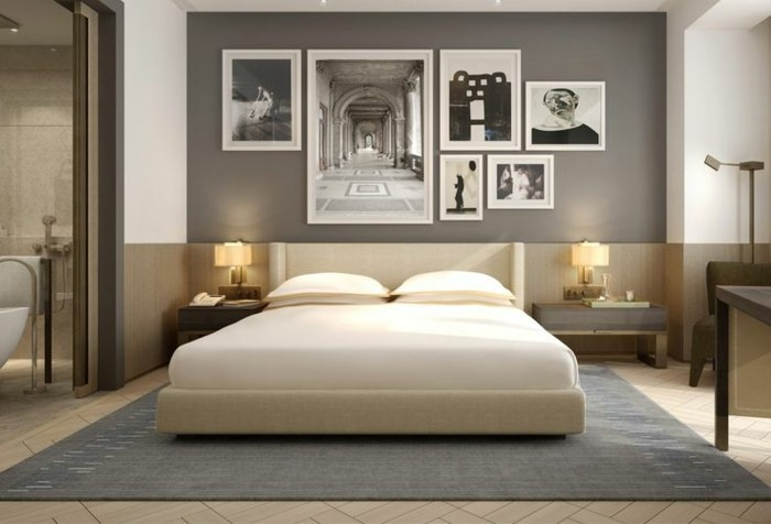 Lampe Schlafzimmer Tischleuchten Grauer Teppich Neutrale Farben