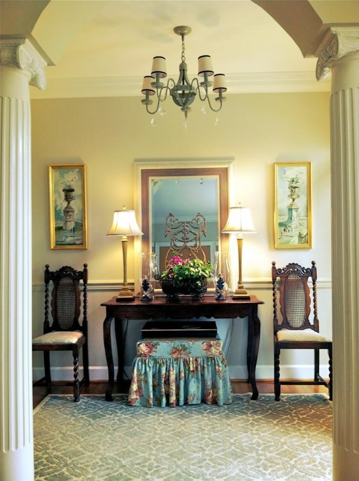 lampen flur tischlampen spiegel stühle helle wände