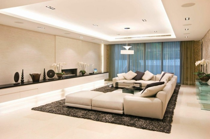 lampen wohnzimmer abgehängte decke beige ecksofa dekoideen orchideen