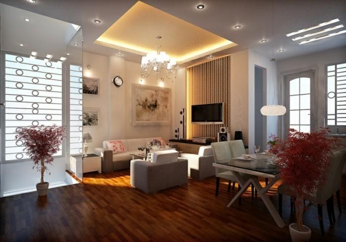 lampen wohnzimmer abgehängte decke kleiner raum fernseher
