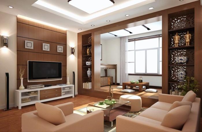 lampen wohnzimmer abgehängte decke wohnwand glastisch kleines wohnzimmer