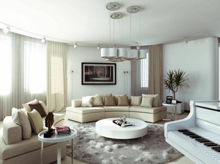 lampen wohnzimmer beige sofas runder couchtisch weiß