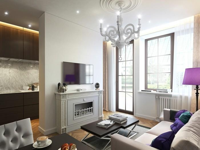 lampen wohnzimmer einbauleuchten schöner leuchter kamin