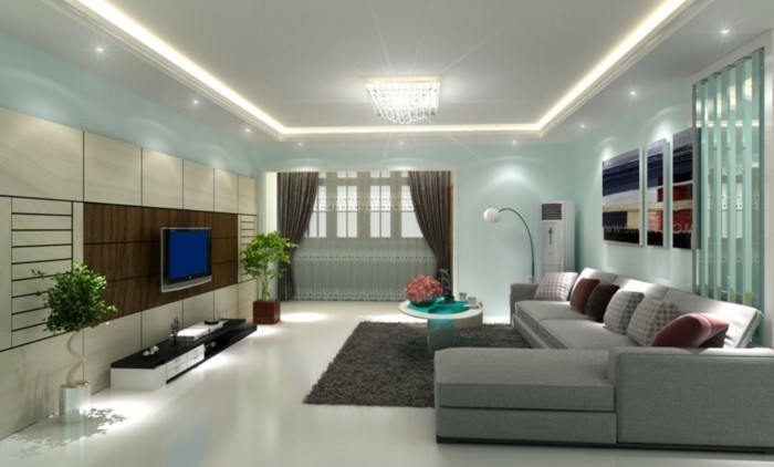 lampen wohnzimmer led beleuchtung abgehängte decke weißer teppich grauer boden