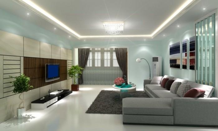 Lampen Wohnzimmer Led Beleuchtung Abgehngte Decke Weisser Teppich Grauer Boden