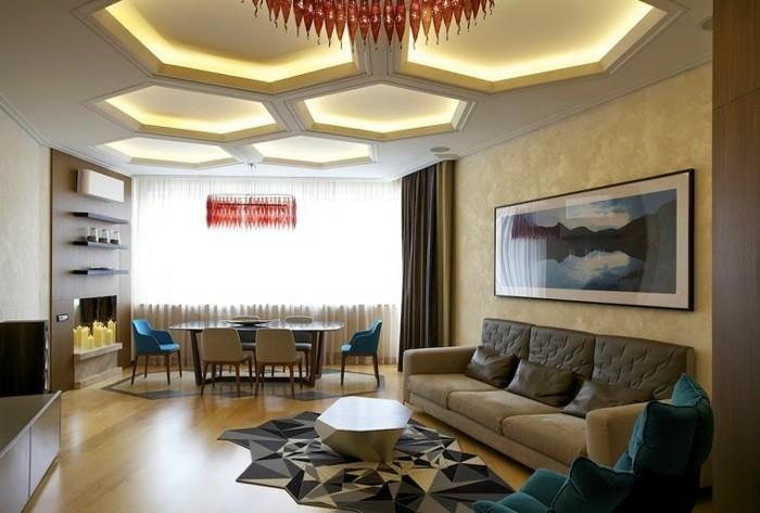 lampen wohnzimmer schöne zimmerdecke cooler teppich kleines wohnzimmer