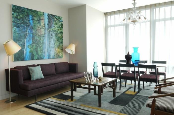 lampen wohnzimmer stehlampen teppich muster schöne wanddeko essbereich