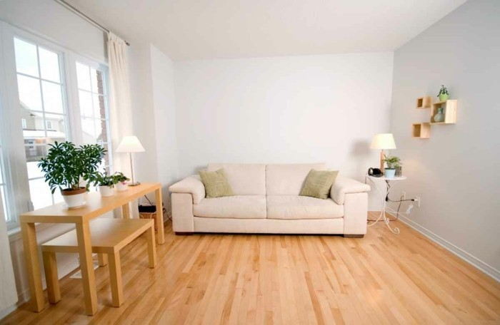 Lampen Wohnzimmer Tischlampen Sofa Beige Pflanzen Holzboden