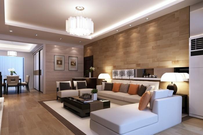 lampen wohnzimmer weiße möbel dekokissen abgehängte decke einbauleuchten
