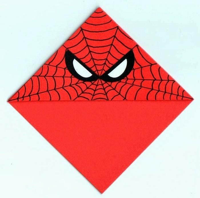 lesezeichen selber machen Spiderman ecklesezeichen