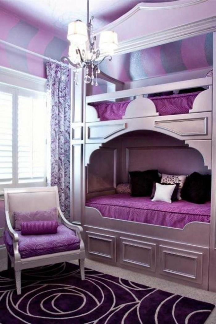 lila teppich mädchenzimmer schöne zimmerdecke