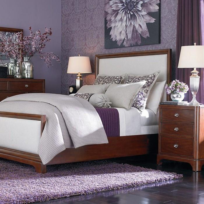 Lila Teppich Schlafzimmer Lila Wandtapete Stilvolle Schlafzimmereinrichtung
