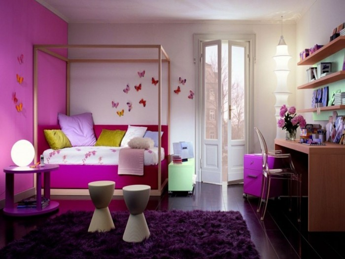 lila teppich wohnideen kinderzimmer rosa wände mädchenzimmer