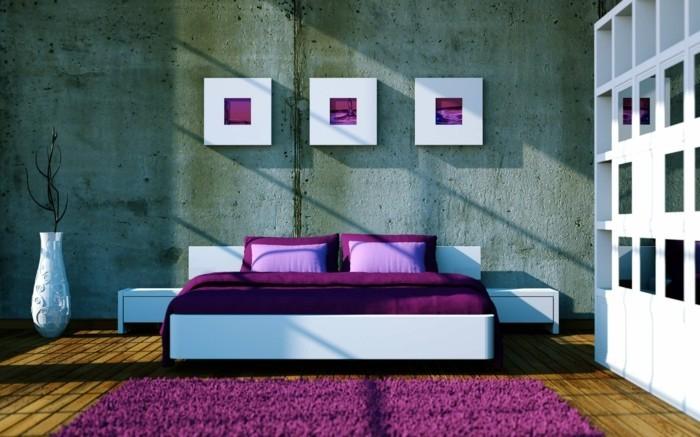 lila teppich wohnideen schlafzimmer lila bettwäsche
