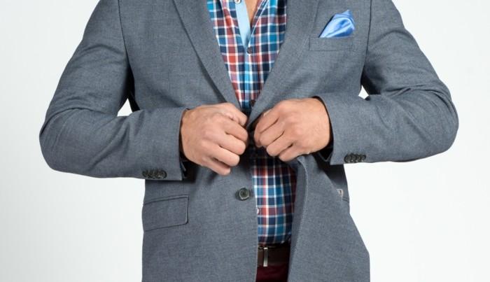 männermode herrenmode kariertes hemd sakko grau