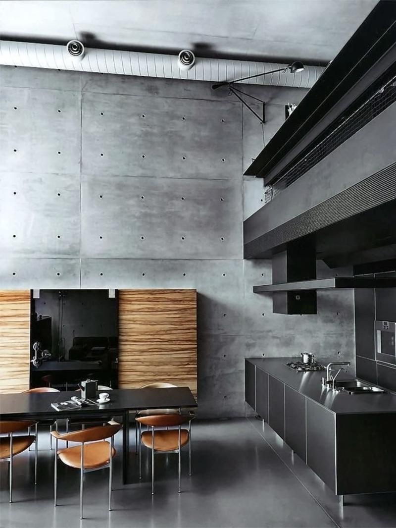 Minimalistisches Küchendesign Betonwand Kücheneinrichtungen Für Männer