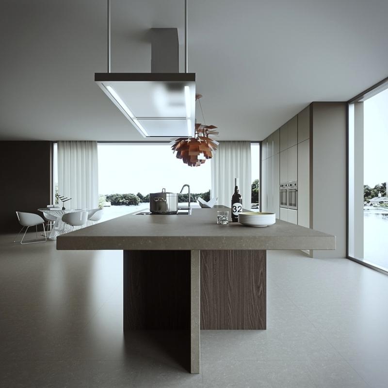 minimalistisches Küchendesign Kücheninsel Stein Kücheneinrichtung Ideen für Männer