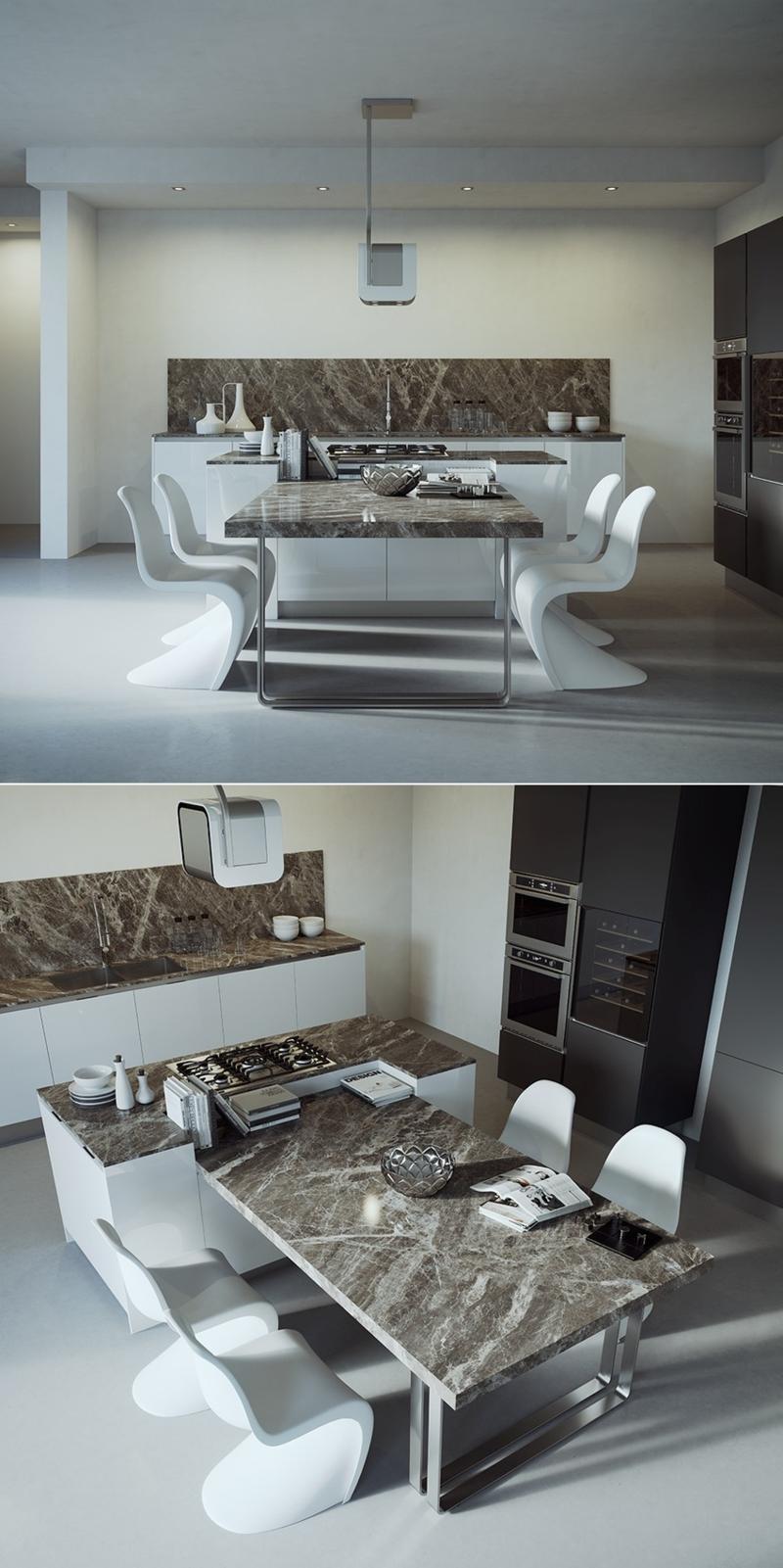 minimalistisches Küchendesign Marmor Kücheneinrichtung Ideen für Männer