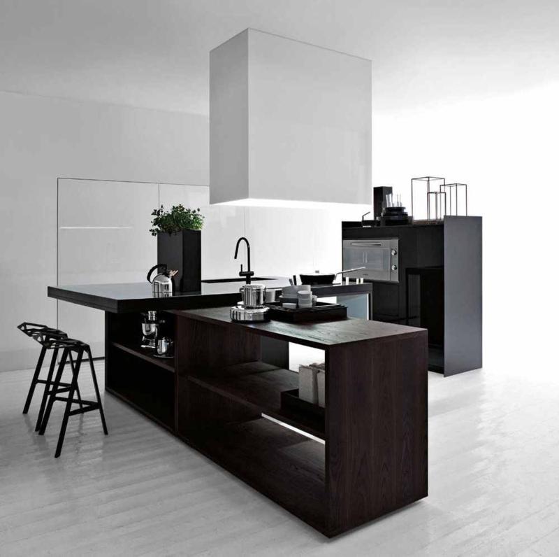 minimalistisches Küchendesign dunkle Holzmöbel Kücheneinrichtung Ideen für Männer