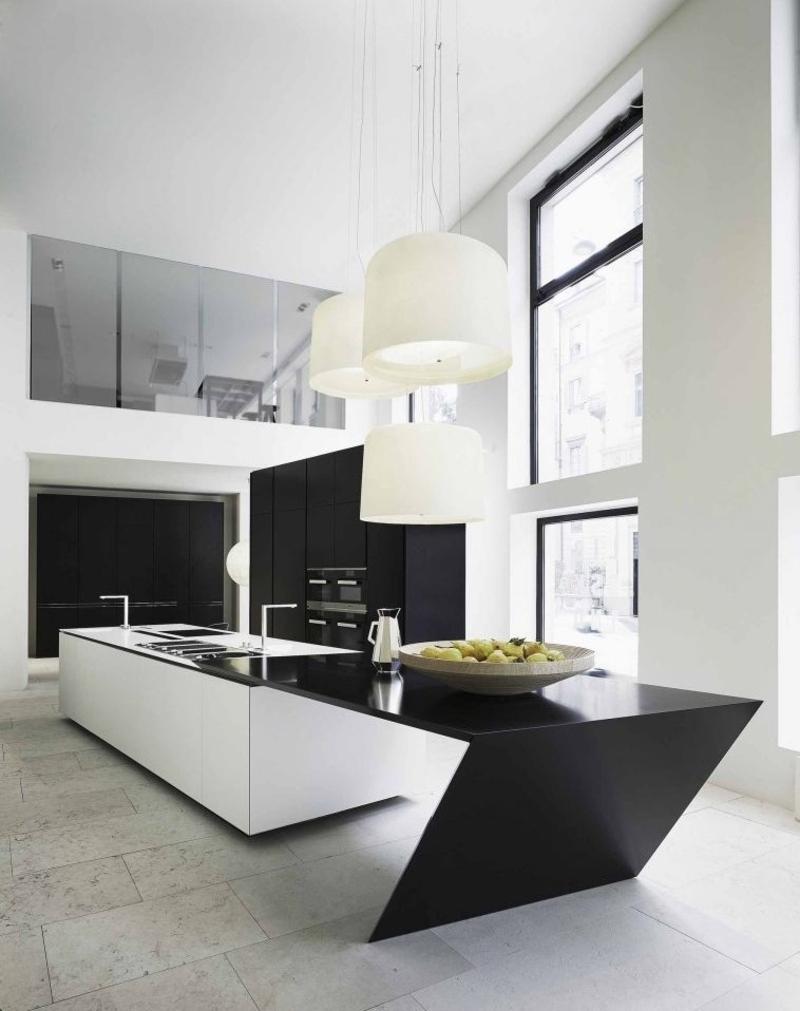 minimalistisches Küchendesign schwarz weiß Kücheneinrichtung Ideen für Männer