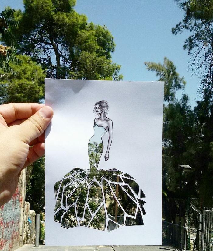 mode-zeichnen-damenmode-abendkleid-baum
