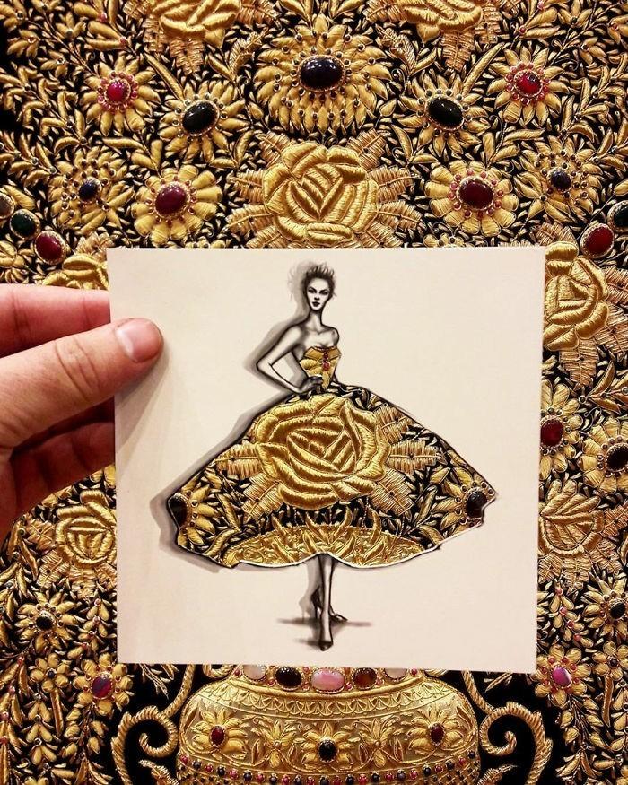 mode-zeichnen-damenmode-abendkleid-fashion-edelsteine-gold