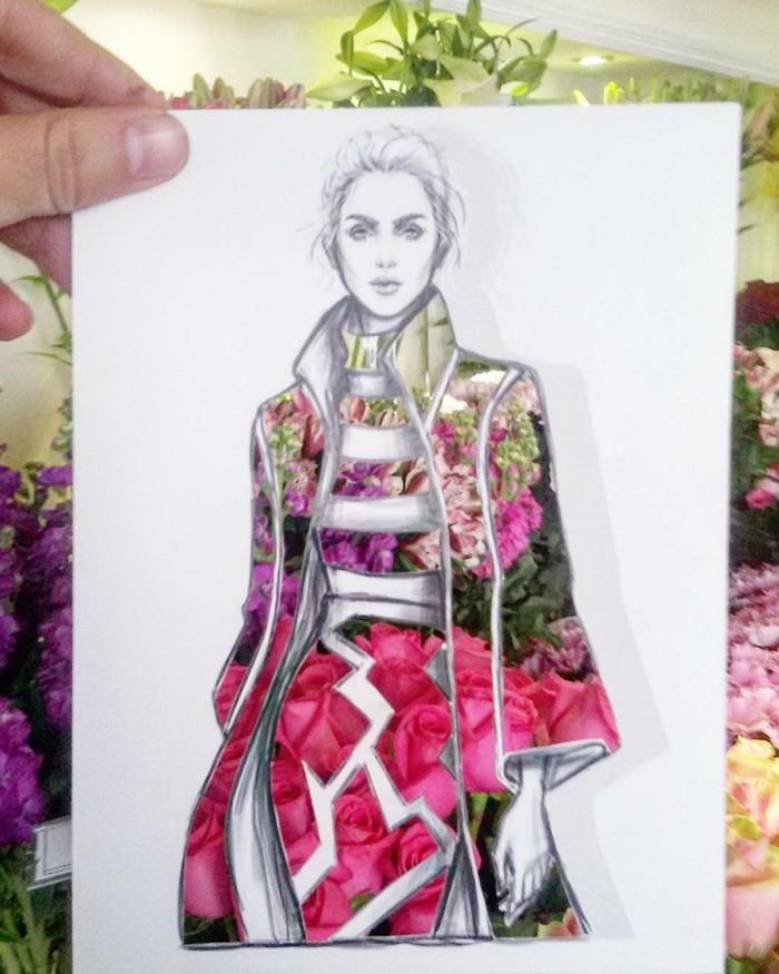 mode-zeichnen-damenmode-rosen-blumen-fashion-skizze