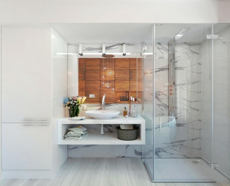 moderne Bäder Holzschrank Waschbecken Tisch Dusche