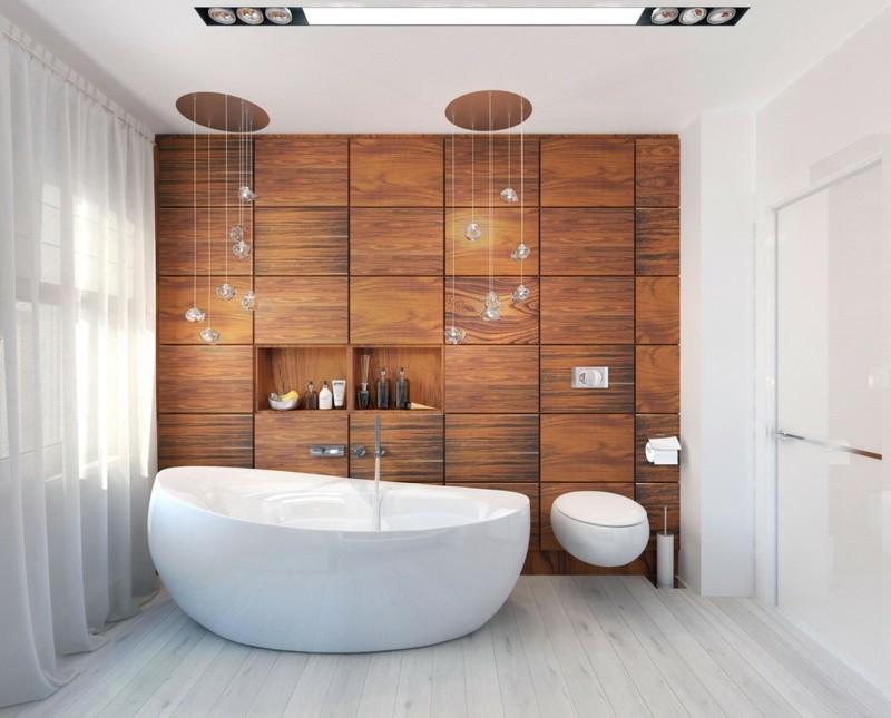 moderne Bäder Holzschrank eingebaut freistehende Badewanne Luxus Badezimmer