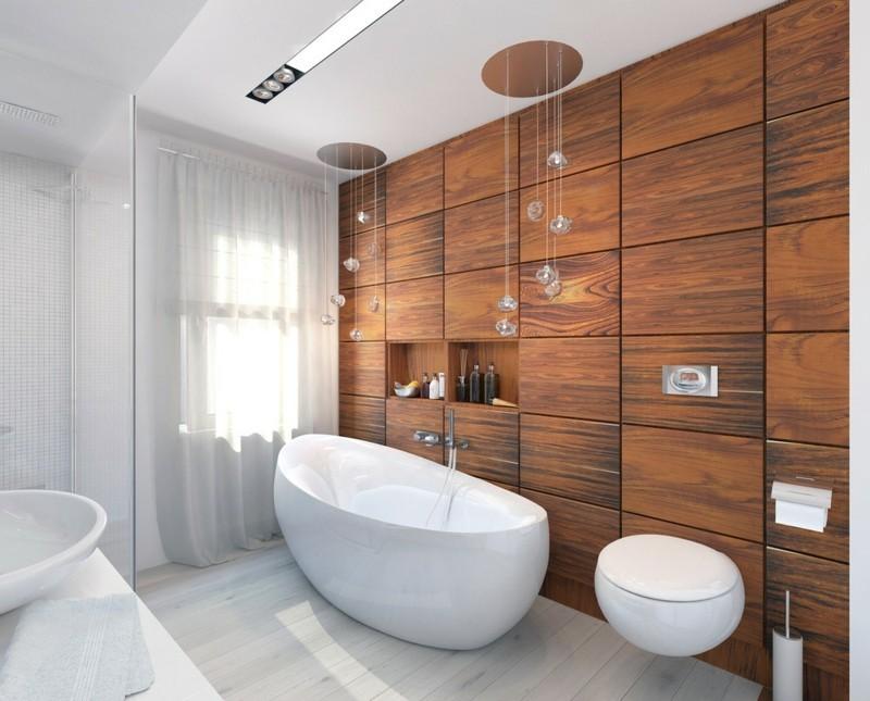 moderne Bäder Holzschrank eingebaut freistehende Badewanne