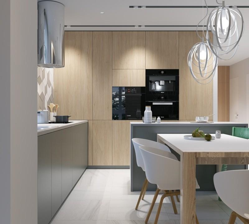 moderne Küche skandinavisch einrichten Kücheninsel Esstisch mit Stühlen