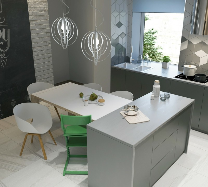 moderne Küche skandinavisch einrichten Kücheninsel Esstisch von oben