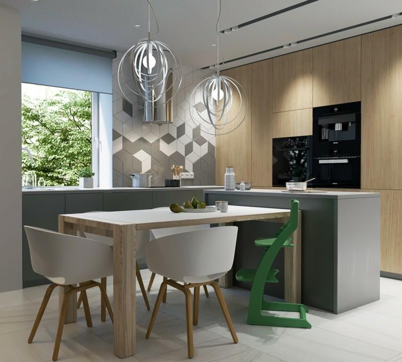 moderne Küche skandinavisch einrichten Kücheninsel Esstisch