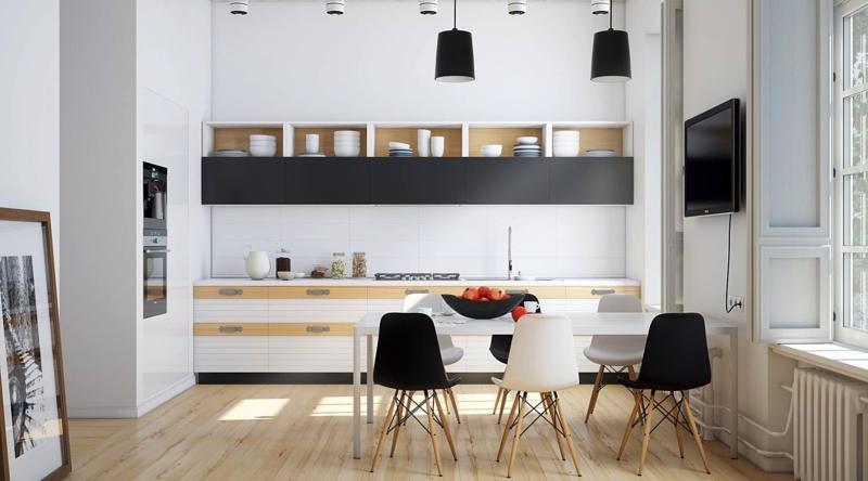monochromes Küchendesign Kücheneinrichtung Ideen für Männer