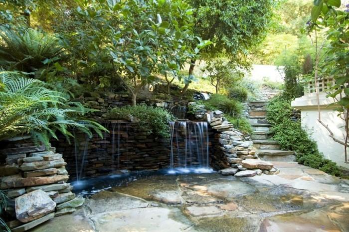 natursteine gartengestaltung wasserfall steinmauer bauen