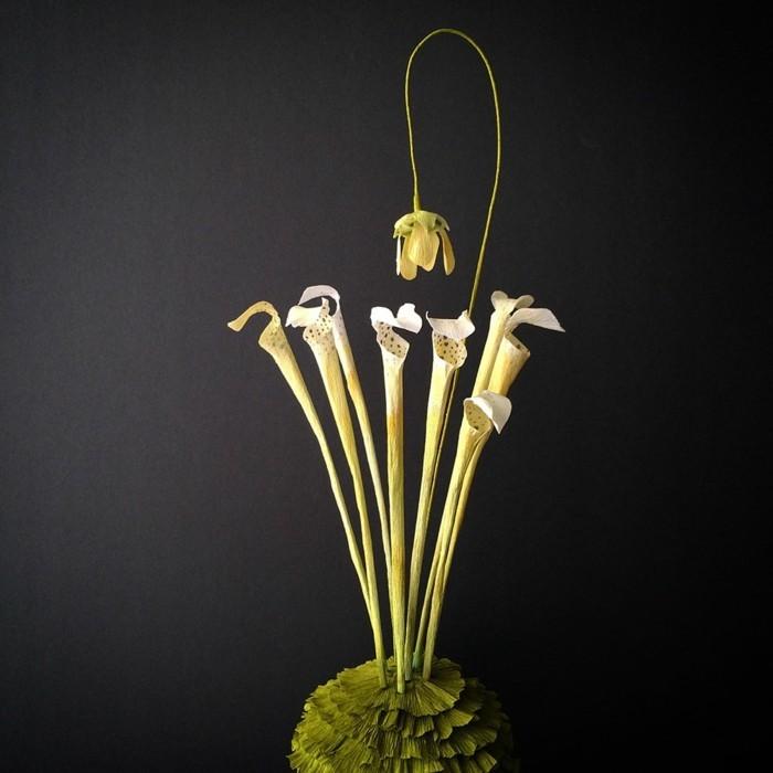 papierblumen basteln gelbe blüten