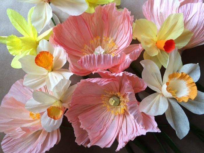 papierblumen basteln narzissen pfingstrosen mohnblumen papierkunst frühlingsblumen