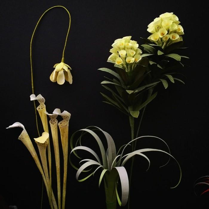 papierblumen basteln papierkunst blumen falten gelbe blüten