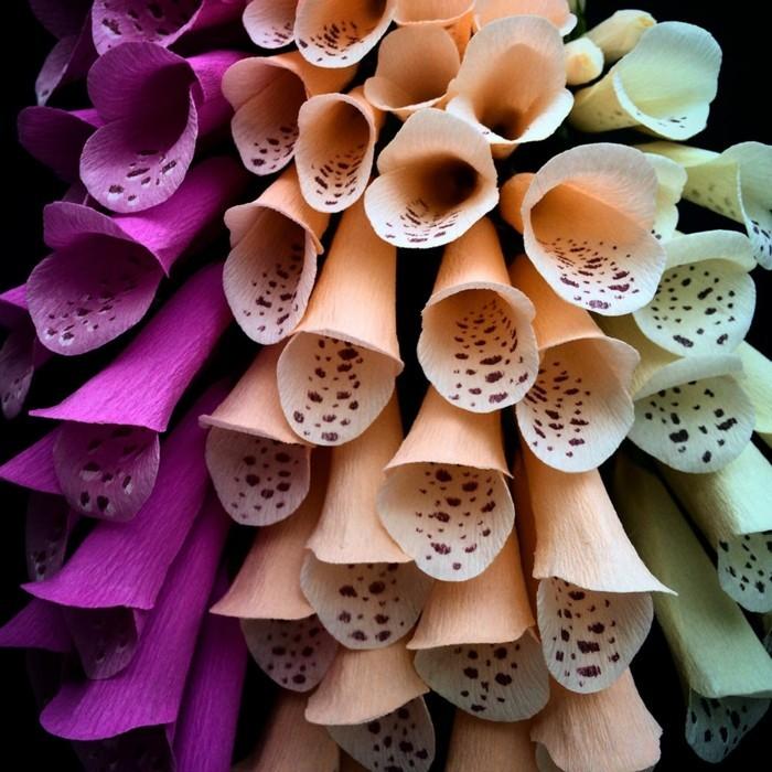 papierblumen basteln papierkunst bunte sommerblumen glocken